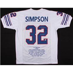 "O.J. Simpson Signed Bills Career Highlight Stat Jersey Inscribed ""H.O.F. 85'"" (JSA COA)"