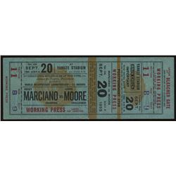 Unused 1955 Rocky Marciano vs. Archie Moore Boxing Match Ticket