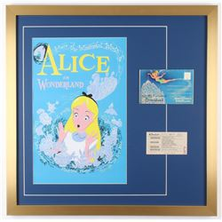 "Disneyland ""Alice in Wonderland"" 24x24 Custom Framed Print Display with Vintage Ticket  Fantasyland"