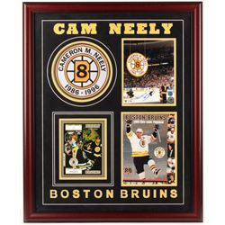 Cam Neely Signed Bruins 27x33 Custom Framed Photo Display with Game Program, Ticket Stub,  Retired #