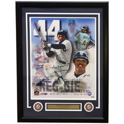 "Reggie Jackson Signed Yankees 22x29 Custom Framed Photo Display inscribed ""500 HR"", ""Mr. October"", """