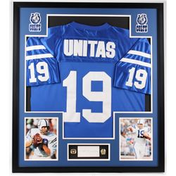 Johnny Unitas Signed Colts 32x36 Custom Framed Cut Display (PSA)