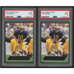 Lot of (2) PSA Graded 9 2000 Press Pass #37 Tom Brady RC