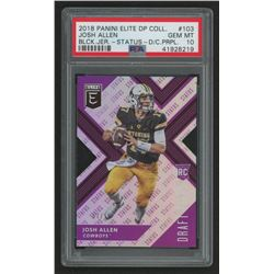 2018 Elite Draft Picks Status Die Cut Purple #103A Josh Allen (PSA 10)