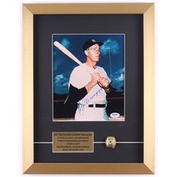 Joe DiMaggio Signed Yankees 14x18 Custom Framed Photo Display with Replica World Series Ring (PSA LO
