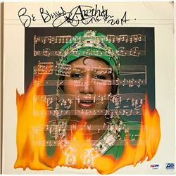 """Aretha Franklin Signed """"Almighty Fire"""" Vinyl Record Album Inscribed """"Be Blessed"""" (PSA COA)"""