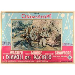"Robert Wagner Signed Vintage 1956 ""I Diavoli del Pacifico"" 19.5x27.5 Movie Poster (JSA COA)"
