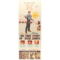 "Robert Wagner Signed Vintage 1957 ""The True Story of Jesse James"" 14x36 Movie Poster (JSA COA)"