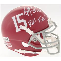 "A.J. McCarron Signed Alabama Crimson Tide Mini-Helmet Inscribed ""Roll Tide!"" (Radtke COA)"