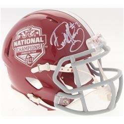Derrick Henry Signed 2015 Alabama Crimson Tide National Champions Logo Mini Speed Helmet (Radtke COA