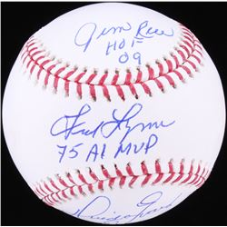 Jim Rice, Fred Lynn  Dwight Evans Signed OML Baseball with (3) Inscriptions (JSA COA)