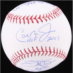 Orioles Hall Of Famer OML Baseball Signed by (5) with Jim Palmer, Cal Ripken Jr., Brooks Robinson, E