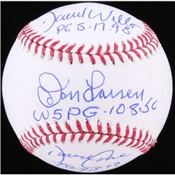David Wells, David Cone  Don Larson Signed OML Baseball with (3) Inscriptions (JSA COA)