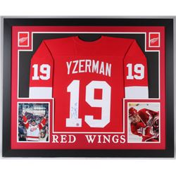 Steve Yzerman Signed Red Wings 35x43 Custom Framed Jersey (JSA COA  Yzerman Hologram)