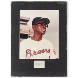 """Satchel Paige Signed Braves 11.25x15 Custom Matted Cut Display with Photo Inscribed """"From"""" with Phot"""