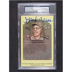 Hank Aaron Signed Gold Hall of Fame Plaque Postcard (PSA Encapsulated)