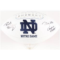 """Rudy Ruettiger Signed Notre Dame Fighting Irish Logo Football Inscribed """"Play Like a Champion Today"""""""