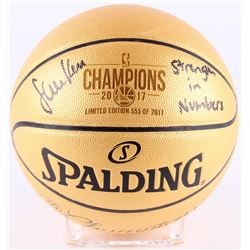 """Steve Kerr Signed LE Warriors 2017 NBA Champions Gold Basketball Inscribed """"Strength in Numbers"""" (Sc"""