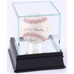 Yankee Greats Baseball Signed by (18) with Mickey Mantle, Yogi Berra, Enos Slaughter, and Bobby Rich