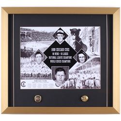1908 Chicago Cubs 18x20 Custom Framed Print Display with (2) Replica Championship Rings