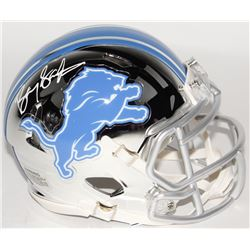 Barry Sanders Signed Lions Mini Speed Chrome Helmet (Schwartz COA)