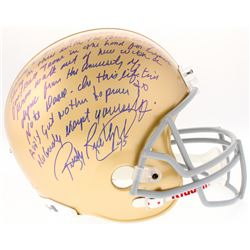 """Rudy Ruettiger Signed Notre Dame Fighting Irish Full-Size Helmet with """"Five Foot Nothin'"""" Speech Ins"""