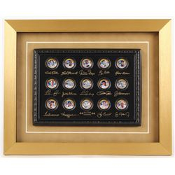 Baseball Hall of Famers 24K Gold Plated  Colorized State Quarters 13x16 Custom Framed Shadowbox Disp