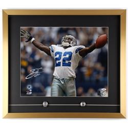 "Emmitt Smith Signed Cowboys 23.5"" x 26.5"" Custom Framed Photo Display with (2) Replica Super Bowl Ri"