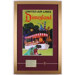 United Airlines Disneyland 17x26 Custom Framed Print Display with Admission Ticket and Pressed COin