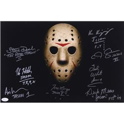 """""""Jason"""" 12x18 Photo Signed by (8) with Kane Hodder, Tom Morga, Derek Mears, Ted White with Multiple"""