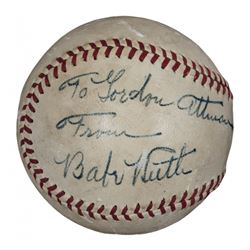 Babe Ruth Signed OAL Baseball with Display Case with Inscription (JSA LOA)