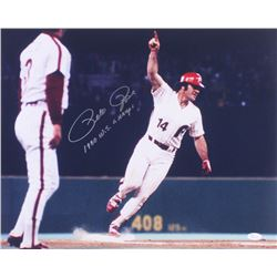 """Pete Rose Signed Phillies 16x20 Photo Inscribed """"1980 W.S. Champs"""" (JSA COA)"""