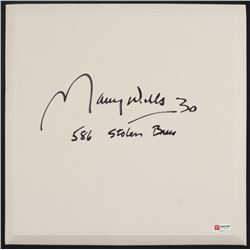 """Maury Wills Signed Full-Size Rubber Base Inscribed """"586 Stolen Bases"""" (PA COA)"""