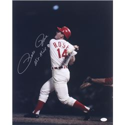 """Pete Rose Signed Reds 16x20 Photo Inscribed """"Hit King"""" (JSA COA)"""