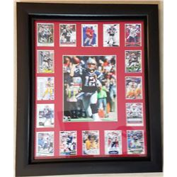 Tom Brady LE Patriots 20x24 Custom Framed Display with 2000 Press Pass Autographs #3 Rookie Card