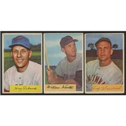 Lot of (3) 1954 Bowman Baseball Cards With #5 Billy Hunter, #172 Andy Seminick  #44 Harry Perkowski