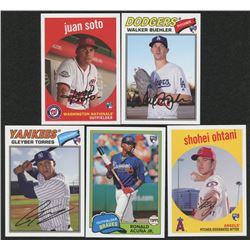 Lot of (5) 2018 Topps Archive Rookie Baseball Cards with #73 Juan Soto, #198 Walker Buehler, #164 Gl