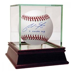 """Christian Yelich Signed Baseball Inscribed """"2 Cycles 2018"""" (Steiner Hologram)"""