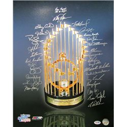1986 Mets 16x20 Photo Team-Signed by (29) with Ray Knight, Davey Johnson, Gary Carter, Jesse Orosco,
