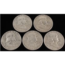 Lot of (5) Franklin Silver Half-Dollars with 1951-S, (3) 1952-D,  1960-D