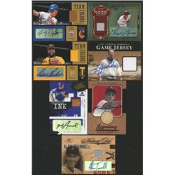 Lot of (7) Baseball Cards with 2004 Timeless Treasures Material Ink Jersey #2 Alan Trammell, 2001 Up