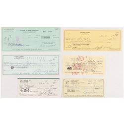 Lot of (6) Personal Checks Signed by Bob Newhart, Sam Snead, Carl Erskine, Gaylord Perry, Rollie Fin