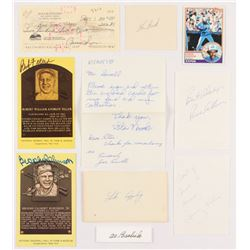 Lot of (10) Assorted Signed Items with Al Barlick, Lou Brock, Andre Dawson, Luke Appling, Rollie Fin