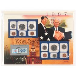 Lot of (8) 1965-1987 Uncirculated Mint Proof Sets with Historic Stamps Collections