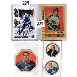 BOBBY ORR OPC, SIGNED UD WENDEL CLARK, TIM HORTON (YORK PEANUT BUTTER) CARDS AND 1960;S TWO HOCKEY T