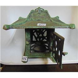 "CAST IRON GREEN PAGODA CANDLE LANTERN 7""T, 7.5""W"