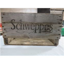 SCHWEPPES WOODEN POP CRATE, NO DIVIDER