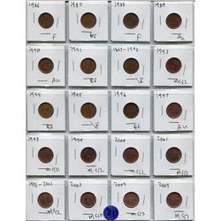 SHEET OF 20 CNDN PENNIES FROM 1986-2005