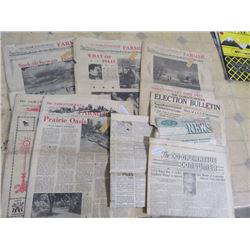 LOT OF NEWSPAPERS FROM 1944 & 1945 SASK FARMER CO-OPERATIVE CONSUMER, SASK ELECTION, ETC