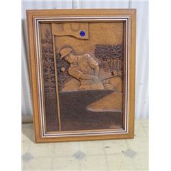 CARVED WOODEN GOLF PICTURE, KIM MURRAY 19.5X15.5